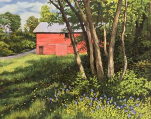 Red Barn Blue Flowers